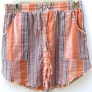 Honey Punch striped Raw Hem Cotton Skirt w/Pockets
